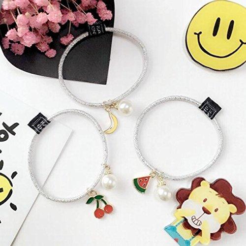 Generic [Five] Korean dress cute little animals fresh fruits hair hair circle pearl pendant small pendant silver ring