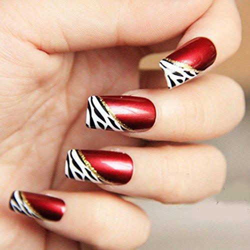 YUNAI 24 PCS Medium Length Full Cover False Nails French Ellipse Red Wine Oblique Leopard Fake Nails ()