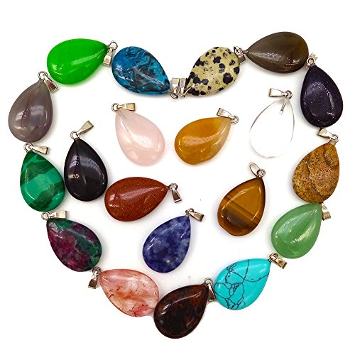 20pcs Teardrop Water Drop Shape Healing Chakra Charm Beads Crystal Quartz Stone Random Color Pendants for Necklace Jewelry Making Oval Round Gemstone DIY Earring (Water droplets) (Oval Malachite)