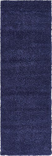 (Unique Loom Solo Collection Plush Casual Navy Blue Runner Rug (2' x 7'))