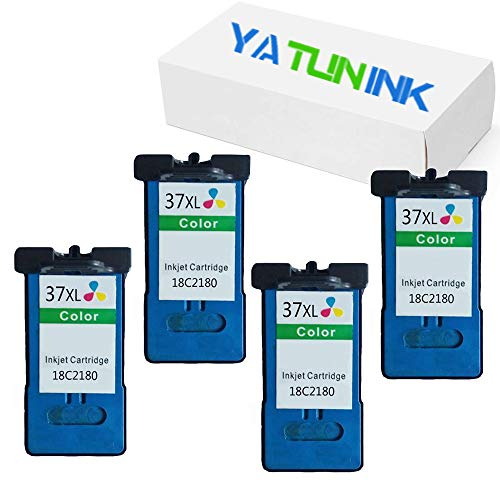 YATUNINK Remanufactured Ink Cartridge Replacement for Lexmark 36XL Black 18C2170 and Lexmark 37XL Color 18C2180 Ink Cartridge for Lexmark X3650 X4650 X5650 X6650 X6675 Z2420 Printers (4 Tri-Color)