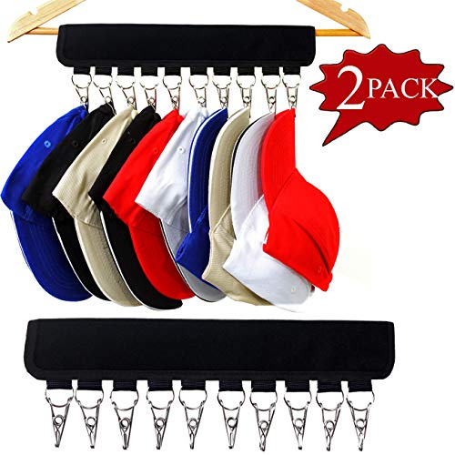 , 10 Baseball Cap Holder, Hat Organizer,Change Your Ordinary Hanger to Cap Organizer- Hanger That Organizes Your Closet, Keep Your Hats Cleaner Than a Hat Rack (2 Pack Black) ()