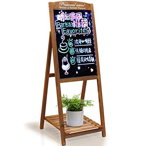 AUCS 4060cm 电子荧光板一体式实木支架 花架LED广告牌宣传展示板发光黑板/白板 AUCS 4060cm Electronic Fluorescent Board Integrated Solid Wood Support Flower Frame LED Billboard Publicity Display Board Luminescent Blackboard/Whitebo (Billboard Electronic)