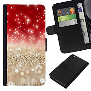 KLONGSHOP // Tirón de la caja Cartera de cuero con ranuras para tarjetas - Perlas Oro Plata Rojo - HTC DESIRE 816 //