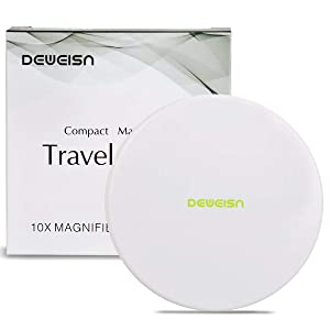 Magnifying Compact Cosmetic Mirror-DeWEISN Elegant Compact Pocket Makeup Mirror, Handheld Travel Makeup Mirror with Powerful 10x Magnification and 1x True View Mirror for Travel or Your Purse (White)