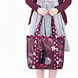DIDIDD 3 pieceswomen girl's mesh beach tote shoulder bags carry-on holiday travel outdoor handbags beach bag storage bags red