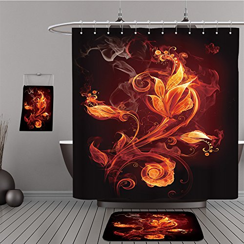 Uhoo Bathroom Suits & Shower Curtains Floor Mats And Bath Towels 16328464 Fire flower For Bathroom