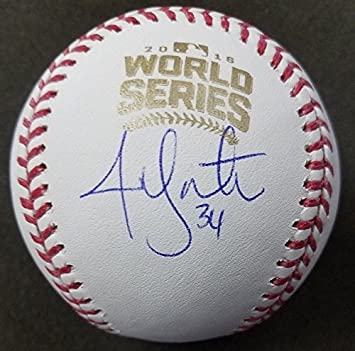 e9c6789c4 Image Unavailable. Image not available for. Color  JON LESTER  34 AUTOGRAPHED  2016 WORLD SERIES BASEBALL CHICAGO CUBS SCHWARTZ
