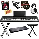 Korg B1 Digital Piano - Black Bundle with Adjustable Stand, Bench, Dust Cover, Sustain Pedal, Instructional Book, Austin Bazaar Instructional DVD, and Polishing Cloth