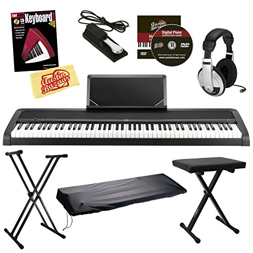 Korg B1 Digital Piano - Black Bundle with Stand, Bench, Dust
