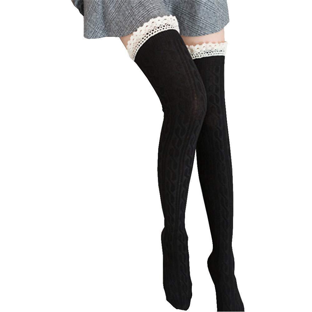Women Socks,FTXJ Women Lace Boot Cuffs Warmer Cotton Blend Leg Long Tube Stockings (Length:68cm/26.8'', Black)