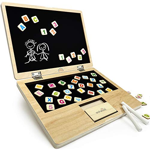 Whiz Kid Wooden Learning Board - Kids ABC Chalkboard with Magnetic Letters & Numbers - Creative Learning Boards for Toddlers - Toddler Art Easel & Magnet Chalk Board - Childrens Preschool STEM Toys