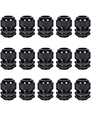 """15 Pack Cable Glands NPT 1/2"""", Strain Relief Cord Connector with Lock Nut and Gasket, Adjustable 7-12 mm Nylon Cable Gland IP68 Waterproof"""