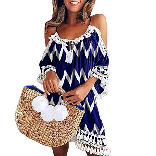 Sumeimiya Women Off Shoulder Dress,Ladies Halter Beach Dresses Tassel Short Cocktail Party Sundress