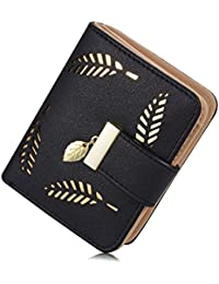 Mujer piel Suave Cut-Out Leaf corto Bifold Wallet cartera