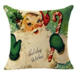 Cotton Linen Pillow Cases, Howstar Christmas Decorative Cute Printed Pillow Covers Sofa 18 X 18 Inches (D)