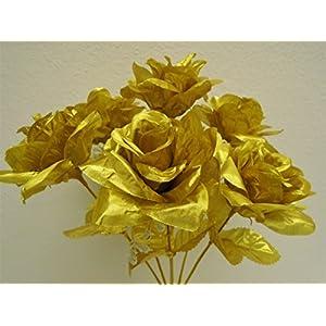 """3 Bushes Gold Open Rose 7 Artificial Silk Flowers 15"""" Bouquet 775GD 3"""