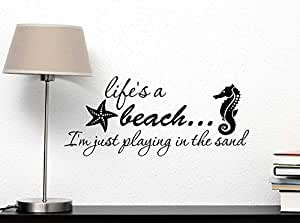 Wall Decal Life's a beach Im just playing in the sand. Vinyl Wall Decor Quotes Sayings Inspirational wall Art