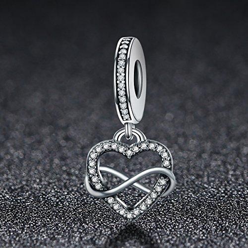 BAMOER Sterling Silver Infinity Love Symbol Dangle Heart Beads Charm for Bracelet by BAMOER (Image #1)