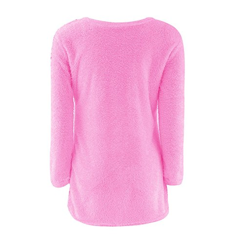 lgant Warmer Casual Rond d'hiver Pull Vif1 Blouse Longues Pull Col Manches Solides Les Rovinci Manches Rose Longues Femmes qFS6OO