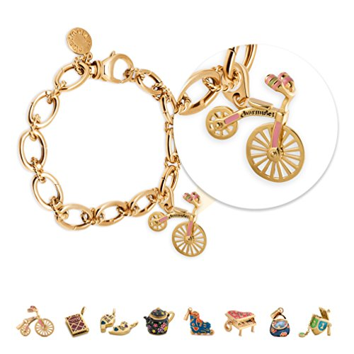 Super European Style 14k Gold Plated Changeable Bicycle Charm Bracelet - Great Jewelry Gift Idea For Women Teens & Girls With FREE GIFT BOX By Charmulet™