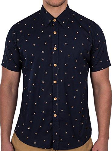 Dom N 8 Design Men's Jet Short Sleeve Button Down Shirt Small Navy Blue