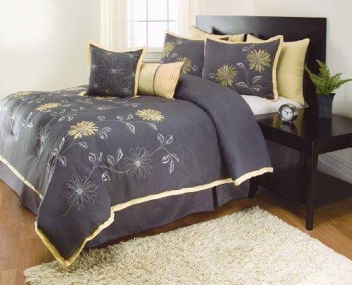 8 Pieces RENEE Sunshine Yellow Grey Comforter Sunflower Bed-in-a-bag Set QUEEN Size Bedding+Accent Pillows 50%OFF