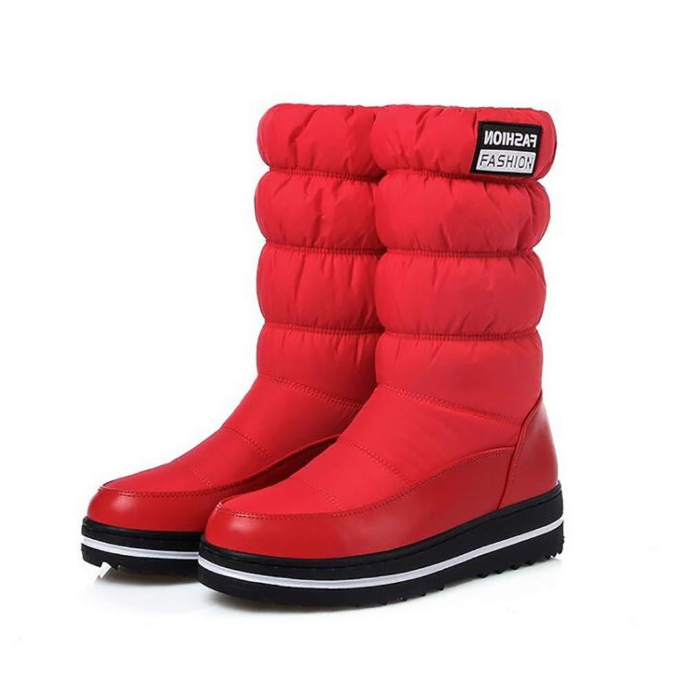 Hy Frauen Stiefel Künstliche PU Winter Schneeschuhe Stiefel Damen Warm Bis Winddicht Bis Warm Stiefelies Flache Große Größe Skifahren Schuhe Stiefelies Stiefeletten Rot Schwarz Blau (Farbe   Rot Größe   42) 2f0adf