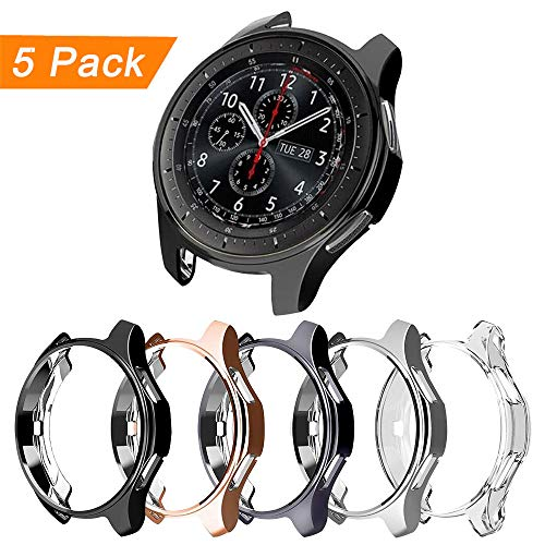 [5-Pack] Compatible with Samsung Galaxy Watch 46mm 42mm,Gear S3 Frontier Classic Case,Soft TPU Plated Protector Cover Thin Bumper Shell Accessories (Clear+Black+Silver+Gray+Rose Gold, 46MM)