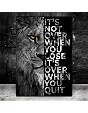 Inspirational Life Quotes On Black White Lion Painting Posters and Prints Canvas Art Picture for Living Room Hallway Decor
