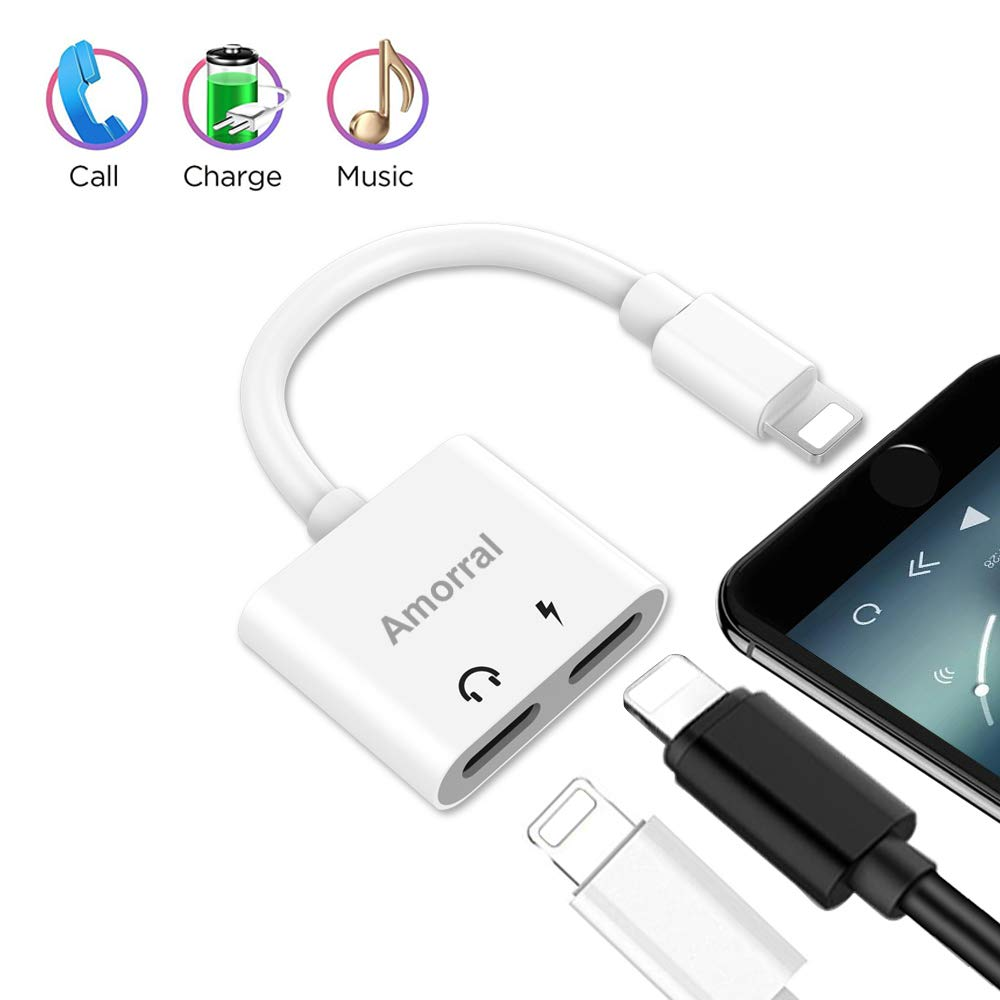 Black Etre Jeune RC-EB-L1G6LLU Amoral Dual Ports Adapter Splitter 2 in 1 Headphone Jack Aux Audio /& Charger Adapter