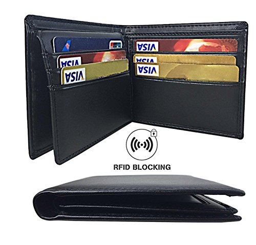 Aonal RFID Blocking Leather Bifold Wallet for Men, Black (Rfid Blocking Leather Wallet)