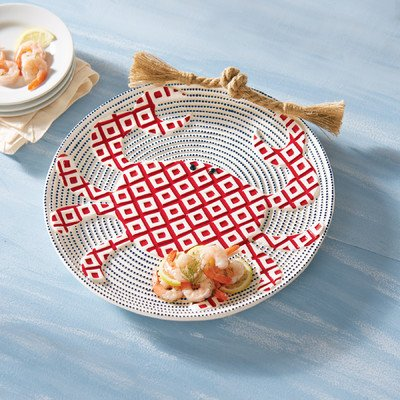 Christmas Tablescape Décor - Mud Pie hand-painted ceramic round texture red crab platter with rope accent handle