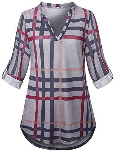 (SeSe Code Plaid Tunic Women Shirts for Leggings Modern Designer Hi Low Hem Soft Surroundings Beautiful Polyester Knitting Draped Pleated Blouse Black and Gray M)