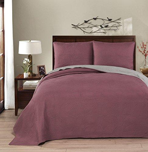 Brielle Wave Reversible Quilt Set, Full/Queen, Deco Rose/Grey (Queen Quilt Bedding Set Rose)