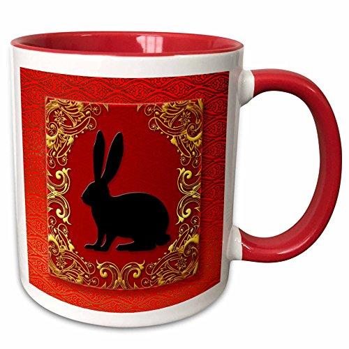 Chinese Rabbit Zodiac - 3dRose 101856_5 Zodiac Rabbit Chinese New Year Red, Gold and Black Ceramic Mug, 11 oz, White