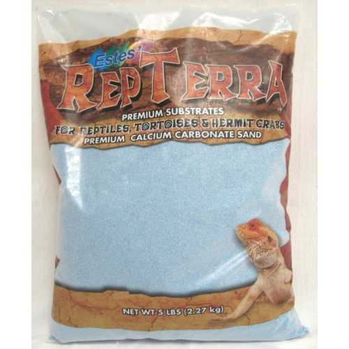 Estes' Gravel Products SES60205 5-Pack RepTerra Reptile Calcium Carbonate Sand, 5-Pound, Blue by Estes'