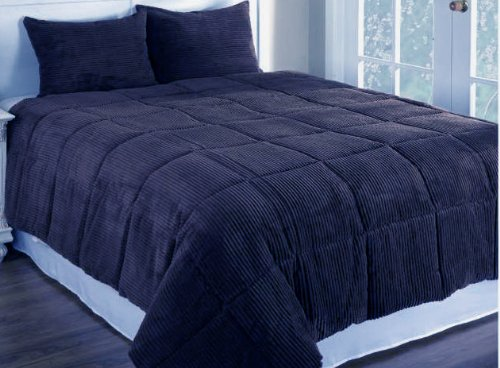 Newpoint Microplush Corduroy Twin Comforter Mini Set, Navy