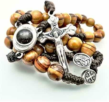 Olive Wood Rosary - Bethlehem Holy Soil, Christian Gift from Jerusalem