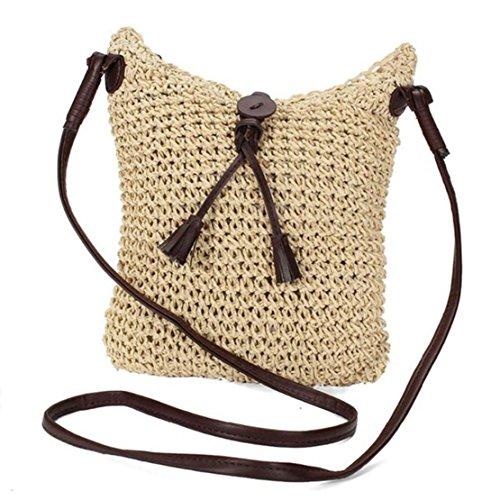 Woven Slip Satchel (Straw Handbags for Women,Woven Knitting Tassel Beach Crossbody Shoulder Travel Satchels)