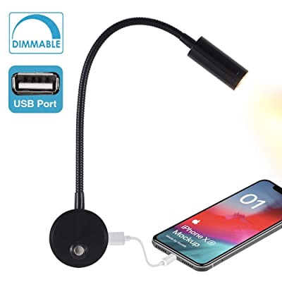WisHomee Dimmable RV Reading Light with USB Charging Port, DC 12V RV Interior Lights, Flexible LED Light Fixtures, Designed for Car, Van, Boat and Motorhome (Black): Automotive