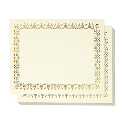 48-Sheet Certificate Paper - Letter Size Blank Diploma Paper, Gold Foil Border Specialty Award Paper, Laser & Inkjet Printer Friendly, Gold, 8.5 x 11 Inches