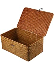 BESPORTBLE Rattan Storage Basket Rectangular Handwoven Seagrass Storage Basket with Lid for Shelves and Home Organizer Bin