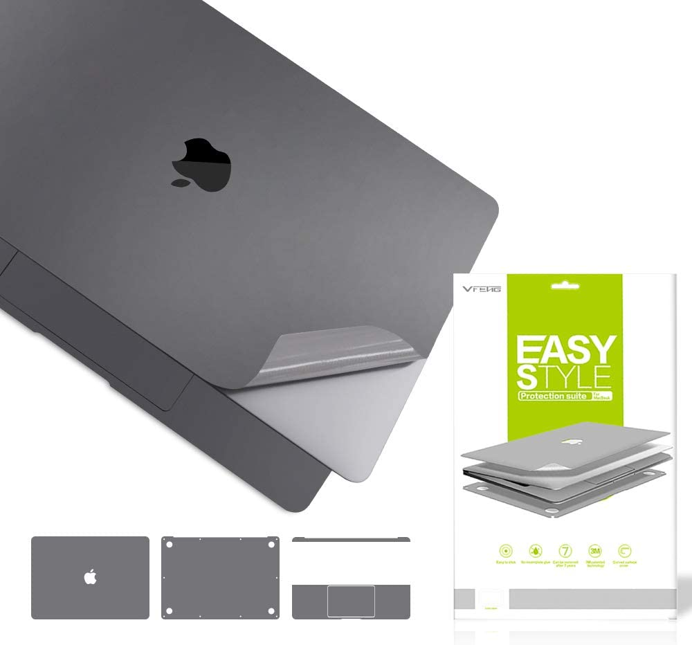 VFENG Premium 6 in 1 Gray Full Size 3M Decals Skins Covers for MacBook Pro 16.1 Inch with Touch Bar (Apple Model Number A2141),Including High Clear Screen Protector