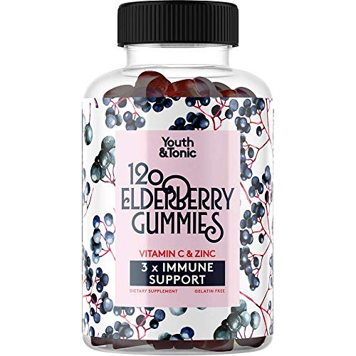 120 Sambucus Elderberry Gummies 3 x Immune Support with 100% Vitamin C & Zinc | Herbal Gummy Supplement Packed w…