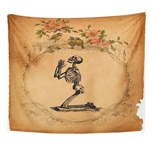 Semtomn Tapestry Artwork Wall Hanging Bone Vintage Kneeling Skeleton Bones Skull Public Domain Victorian 60x80 Inches Home Decor Tapestries Mattress Tablecloth Curtain Print
