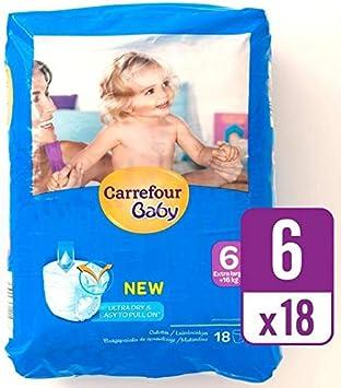 Carrefour bebé ultra tirón seco en el tamaño 6 Carry Pack de 18 por paquete: Amazon.es: Salud y cuidado personal