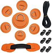 7Pck D-Ring Patch Kayak D Ring Pads and 20ft Strong Elastic Bungee Shock Cord with Hooks Bungee Deck Rigging K