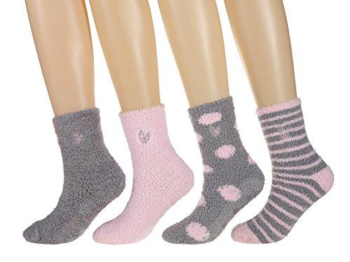 Twin Boat Womens (4 Pairs) Soft Anti-Skid Fuzzy Winter Crew Socks