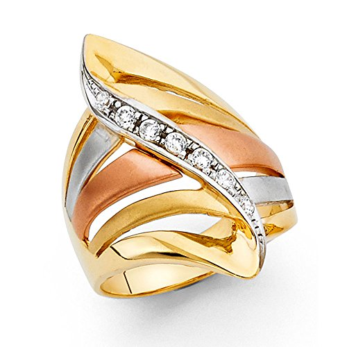 14K Solid Yellow Gold Cubic Zirconia 27mm Tri-color Thick Fancy Ring, Size 8